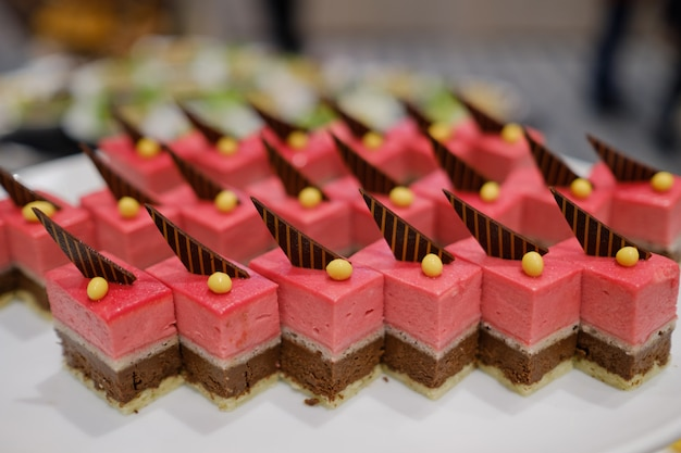 Catering food, dessert and sweet, mini canapes, snacks and appetizers, food for the event, sweetmeat Premium Photo