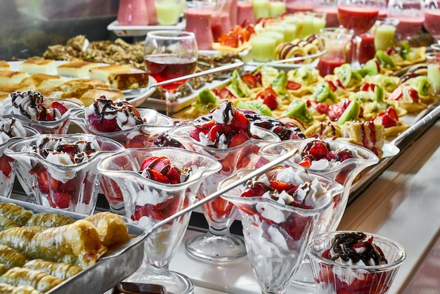 Catering services with snacks in restaurant Premium Photo