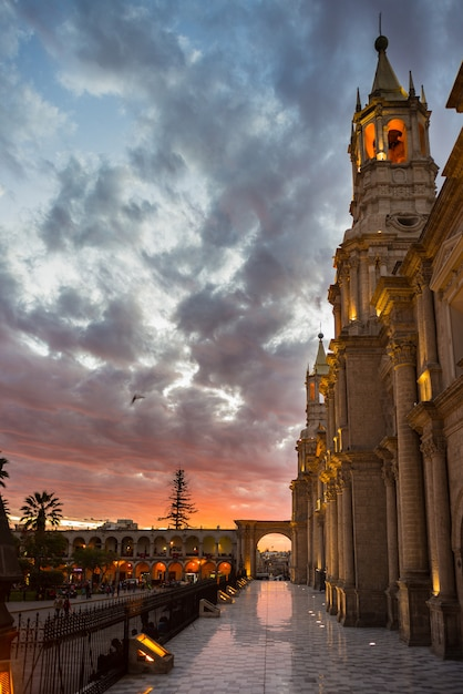 The cathedral of arequipa, peru, at dusk Premium Photo
