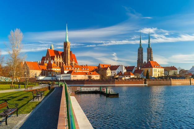 Cathedral island in the morning, wroclaw, poland Premium Photo