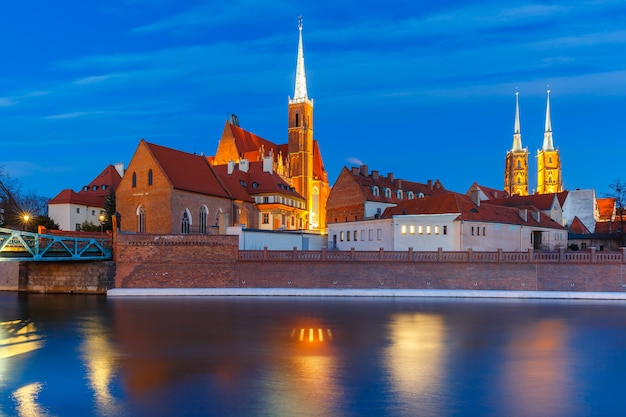 Cathedral island at night in wroclaw, poland Premium Photo