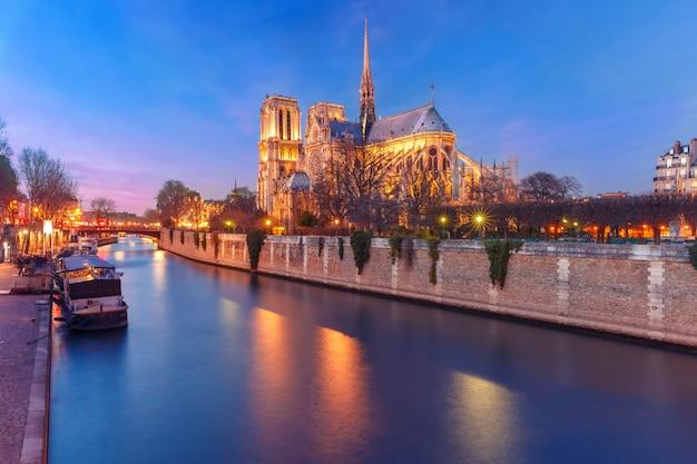Собор нотр-дам де пари на закате, франция Premium Фотографии
