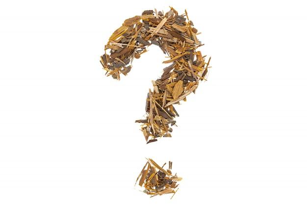 Catuaba bark tea, isolated question mark. Premium Photo