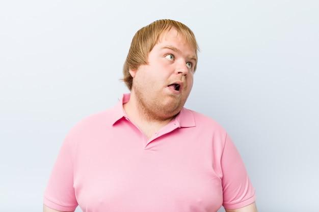 Caucasian crazy blond fat man Premium Photo