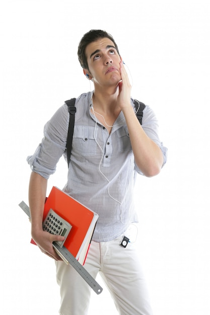 Caucasian student worried with negative gesture Premium Photo