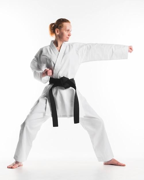 Caucasian woman practicing karate Free Photo