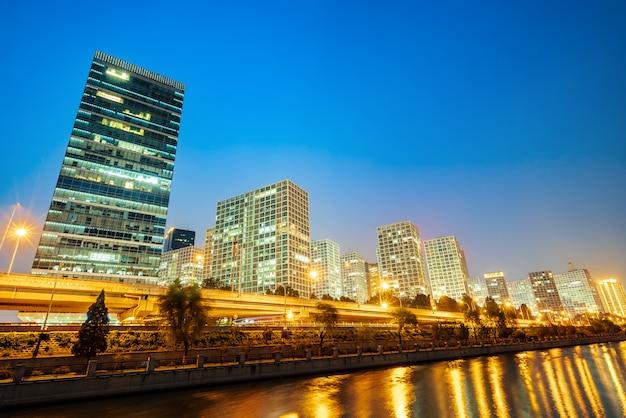 Пекин, китай cbd город небоскребов. Premium Фотографии