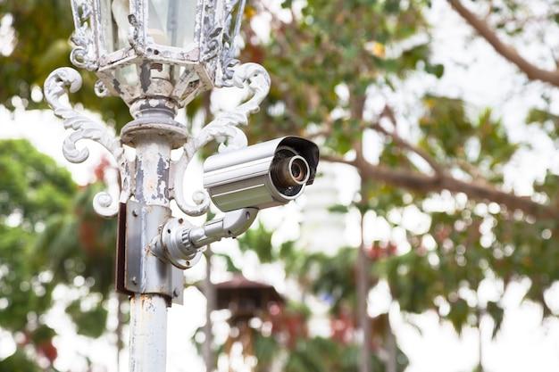 Cctv cameras on poles. Premium Photo