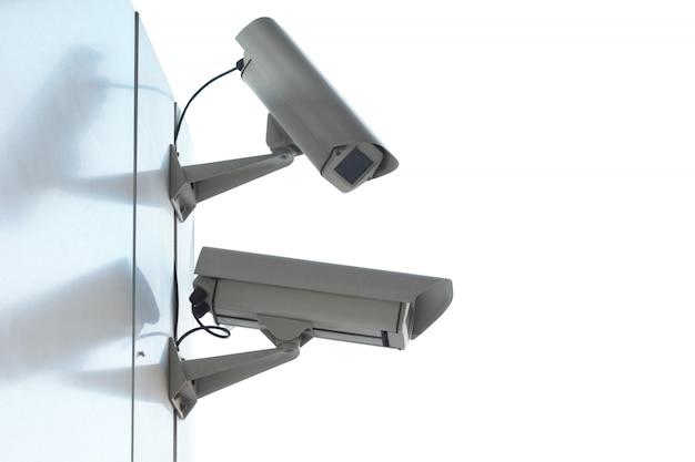 セキュリティcctvカメラのシルエット。 Premium写真