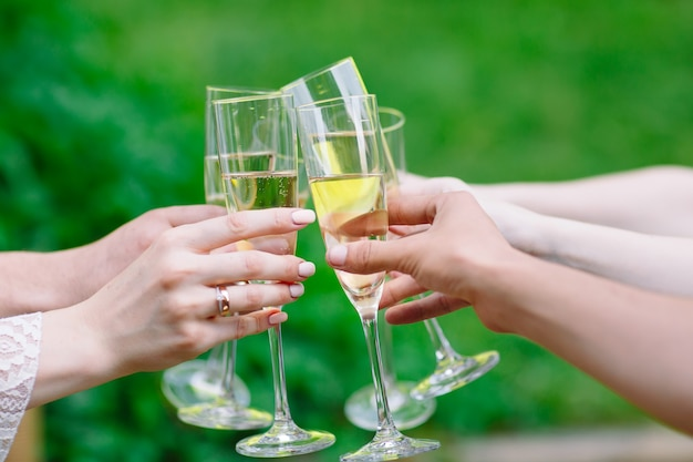 Celebration, people holding glasses of champagne making a toast Premium Photo
