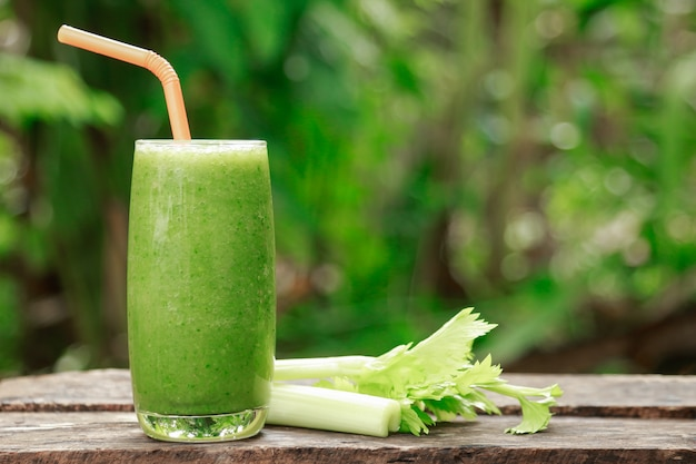 Celery juice in homemade drinking for health Premium Photo