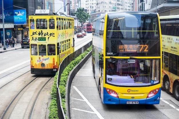 Central, hong kong-jan.10,2016: traffic scene. tram in hong kong Free Photo