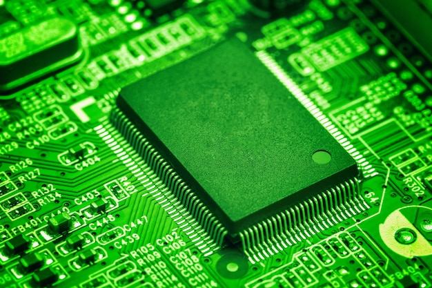 central processor chip on circuit board technology concept free photo