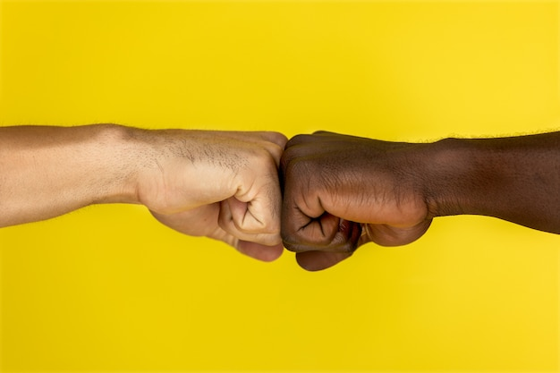 Central view of european and afroamerican hand to hand clenched into fists Free Photo