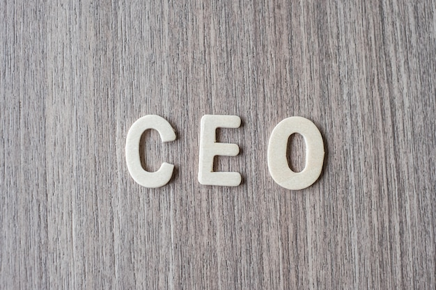 Ceo word of wooden alphabet letters. business and idea concept Premium Photo
