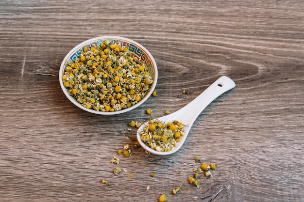 Ceramic bowl and spoon with herbs Free Photo