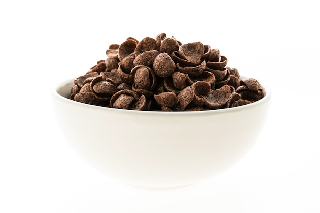 Cereals chocolate in white bowl Free Photo