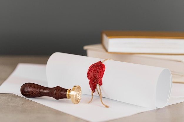 Certificate with wax seal blurred background Premium Photo