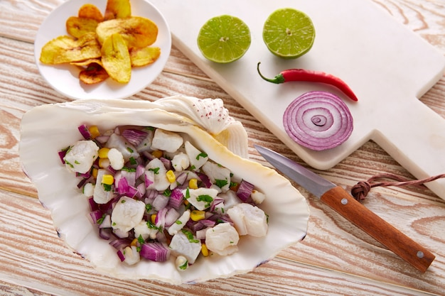 Ceviche peruvian recipe with fried banana Premium Photo