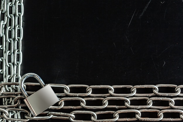Chains on a black Premium Photo