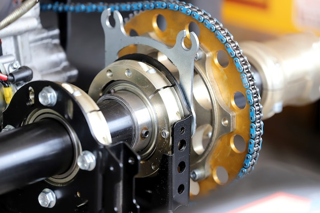 Chains in the engine automotive. Premium Photo