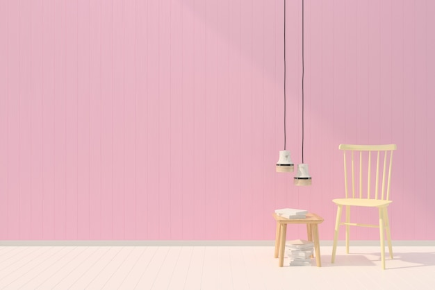 Chair pink pastel wall white wood floor background texture book lamp template Premium Photo