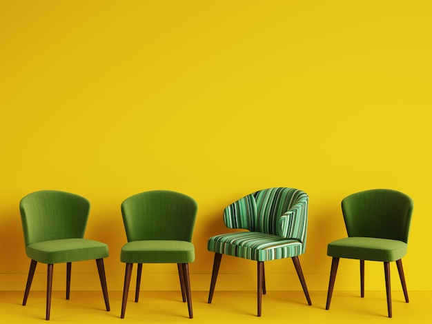 A chair with pattern colorful stripes among simple green chairs on yellow backgrond with copy space.concept of minimalism. digital illustration.3d rendering mock up Premium Photo