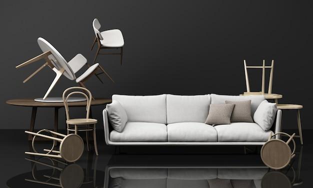椅子とソファとコーヒーテーブルの木製の質感 Premium写真