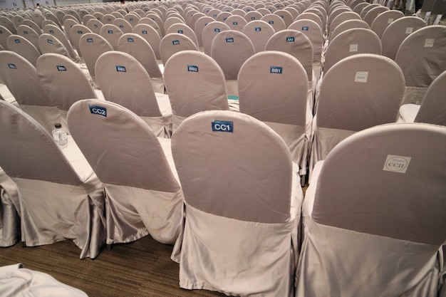 Chairs in meeting room hall. Premium Photo