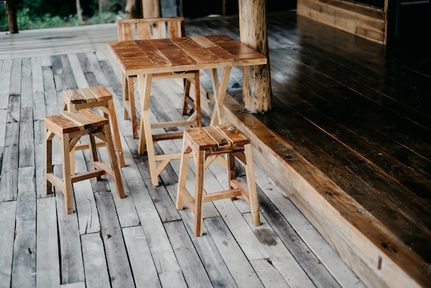 Chairs and wooden tables Premium Photo