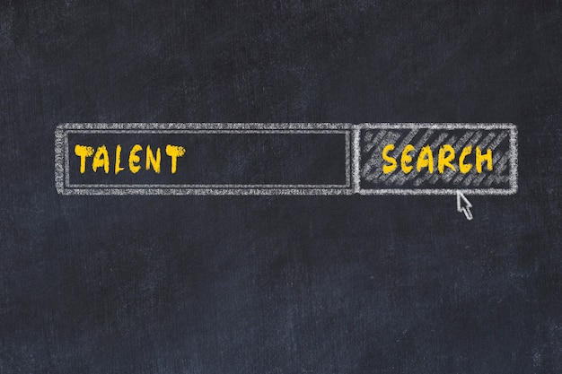 Chalk board sketch of search engine. concept of looking for talent Premium Photo