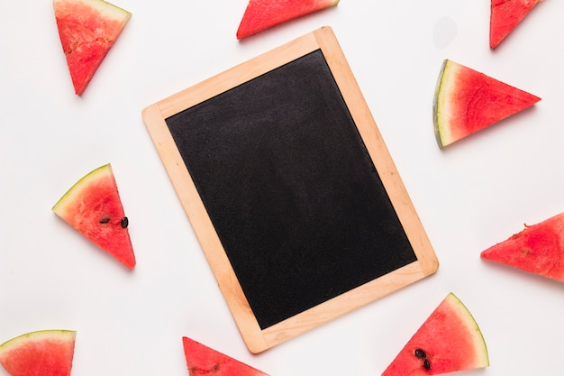Chalk board and watermelon slices Free Photo
