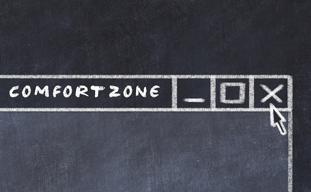 Chalk drawing of window on computer screen. concept of stopping comfort zone Premium Photo