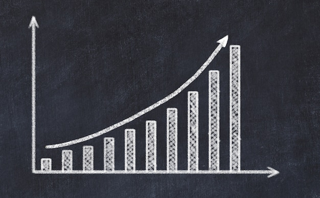 Chalkboard drawing of increasing graph with up arrow Premium Photo