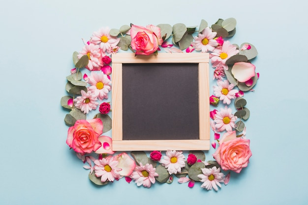 Chalkboard in flower frame Free Photo