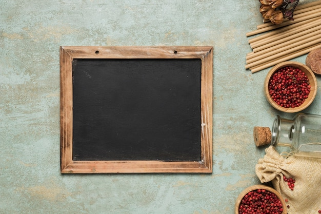 Chalkboard mock-up on cement background Free Photo