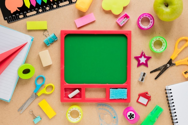 Chalkboard surrounded by sticky tape Free Photo