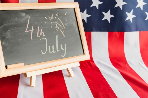 Chalkboard with 4th of july sign Free Photo
