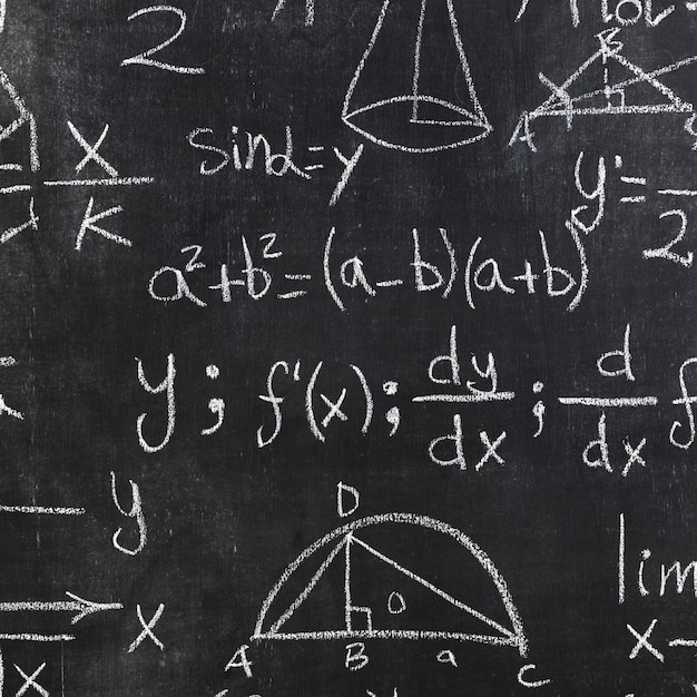 Chalkboard with white mathematical inscriptions Free Photo