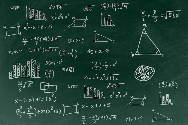 Chalkboard with writing math formula background Premium Photo
