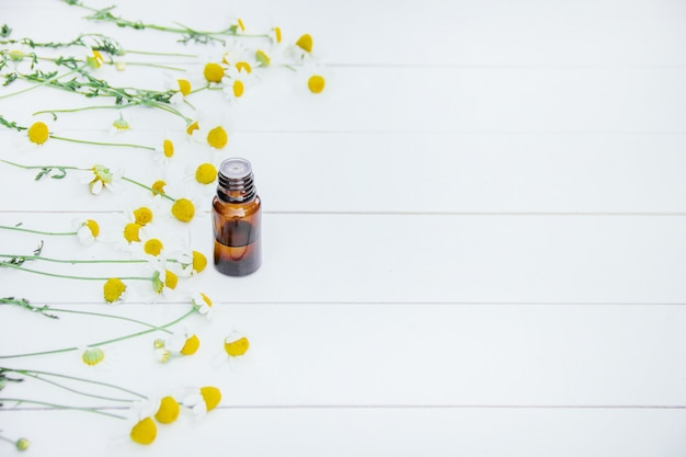 Chamomile extract in a small bottle. selective focus. Premium Photo