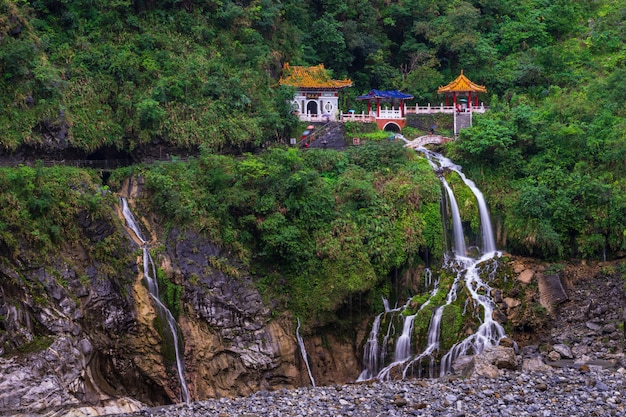 Changchun temple on eternal spring shrine and waterfall Premium Photo