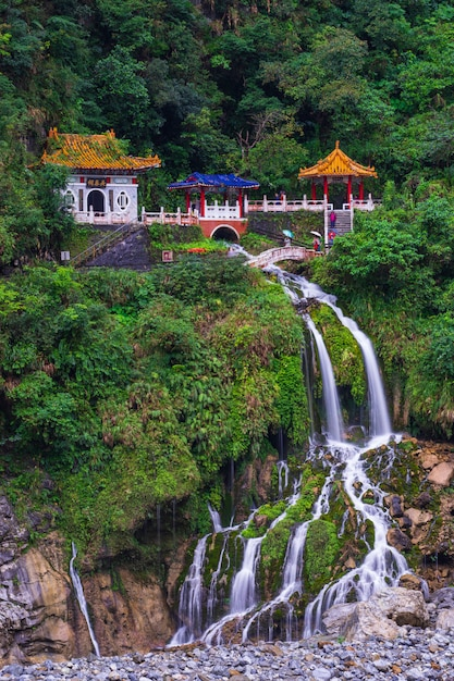 Changchun temple on eternal spring shrine and waterfall Premium Photo
