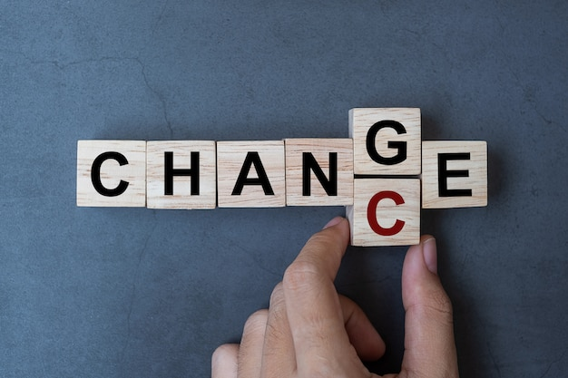 Change to chance word Premium Photo