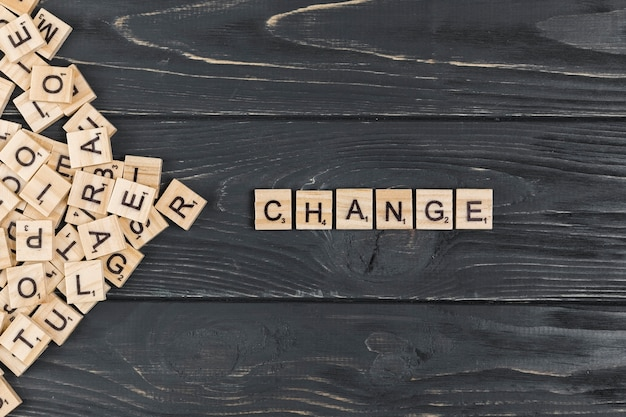 Change word on wooden background Free Photo
