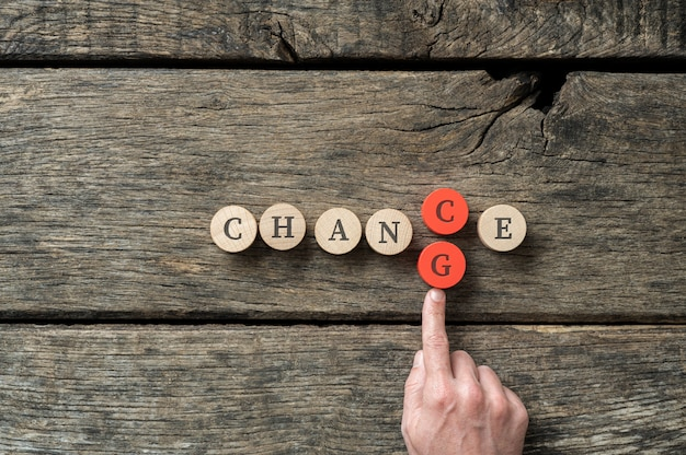 Changing the word chance into change Premium Photo