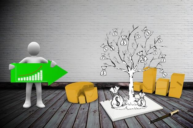 شخصیت برگزاری یک فلش سبز رنگ در کنار یک درخت با پول