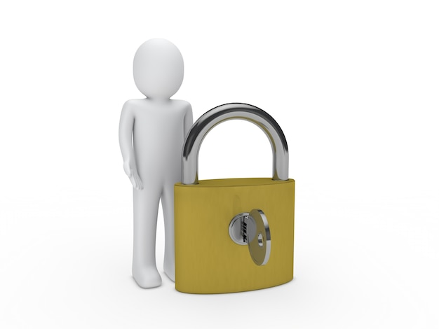 Character next to a padlock with key 1156 538