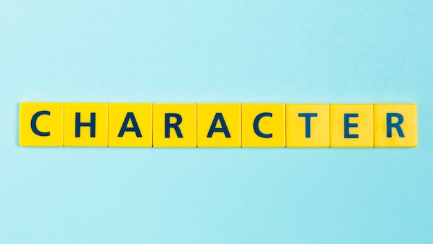 Character word on scrabble tiles Free Photo