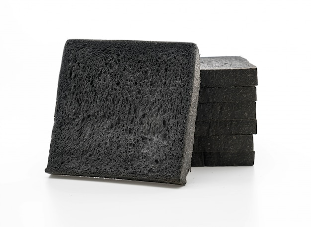 Charcoal bread on white Free Photo